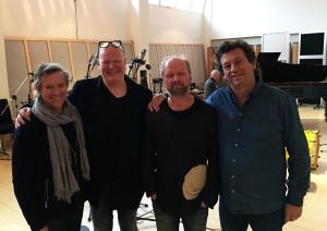Musikere i Rainbow Studio: F.v.: Kjetil Bjerkestrand, Frode Alnæs, Rune Arnesen og Knerten Kamfjord.